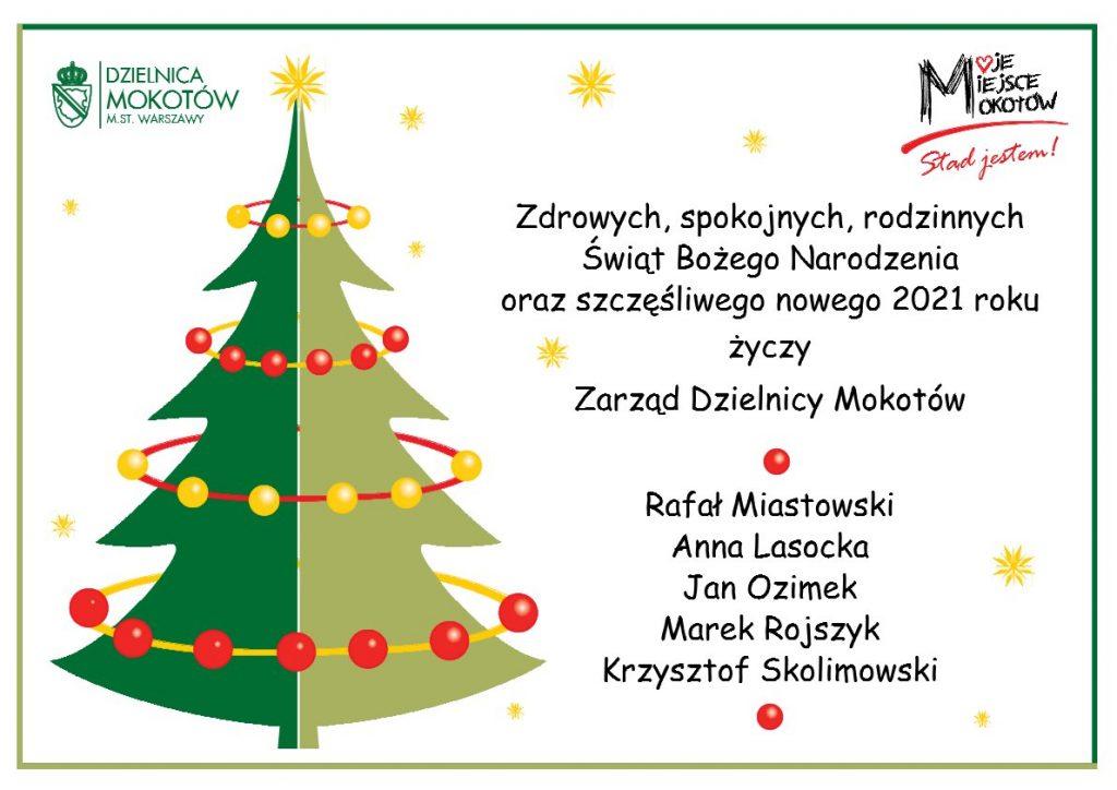 Życzenia świąteczne od Zarządu Dzielnicy Mokotów