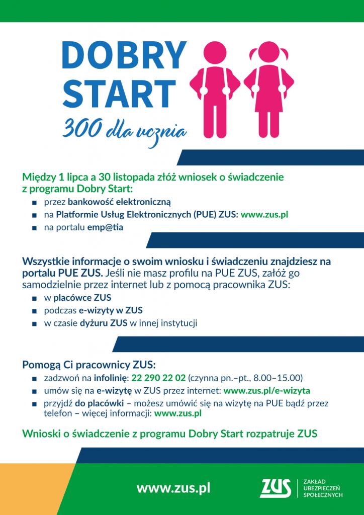 Od 1 lipca 2021 do 30 listopada można złożyć wniosek o świadczenie z programu Dobry Start, tzw. 300+. Wnioski można składać przez bankowość elektroniczną, PUE ZUS oraz w portalu emp@tia. Infolinia: 22 290 22 02. Wnioski o świadczenie  z programu rozpatruje ZUS.